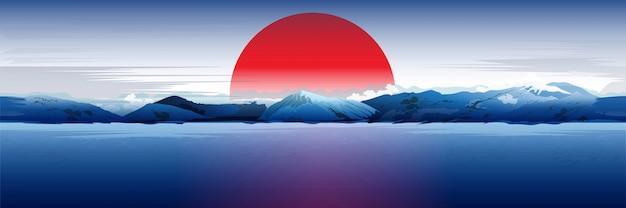 Море, горы и красное солнце. Premium векторы