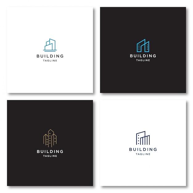 線のスタイルで建物のロゴ Premiumベクター