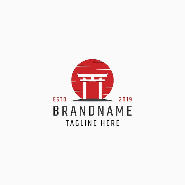 Шаблон логотипа тории японии ворота Premium векторы