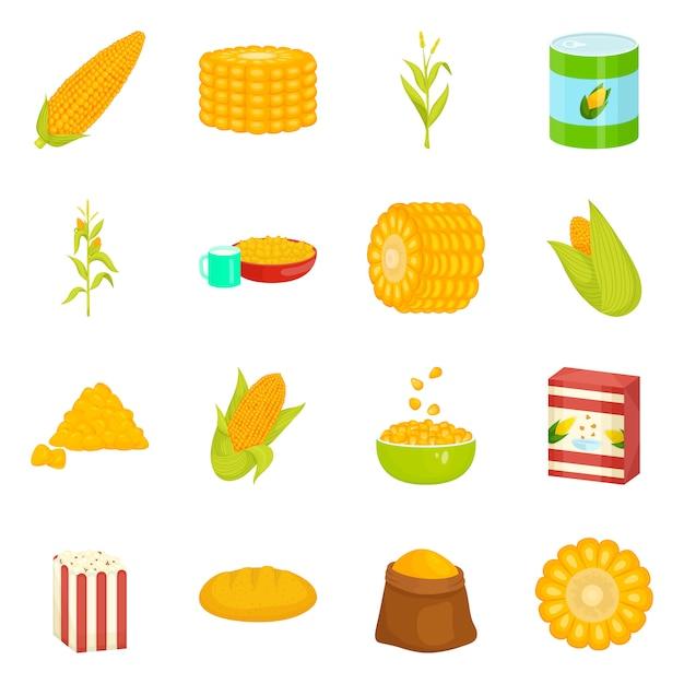 トウモロコシと食品のロゴのベクトルイラスト。トウモロコシと作物のセットのコレクション Premiumベクター