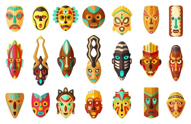 部族のアフリカマスク漫画イラスト Premiumベクター
