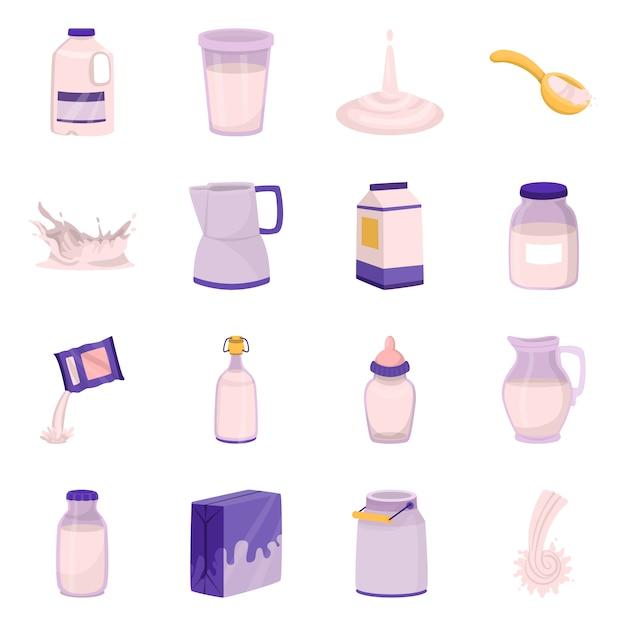 食品および乳製品のシンボルのベクターデザイン。食品とカルシウムのセット Premiumベクター
