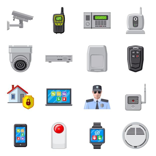 オフィスおよび家のシンボルのベクトルイラスト。オフィスとシステムのセットのセット Premiumベクター