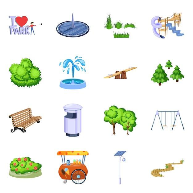 Векторная иллюстрация иконы пейзаж и парк. коллекция ландшафта и природы Premium векторы