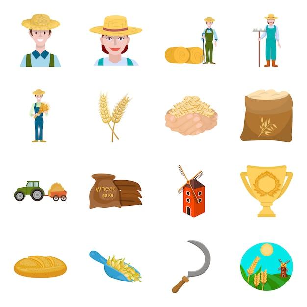 ファームと耕作可能なアイコンのベクターデザイン。農場と小麦のセット Premiumベクター