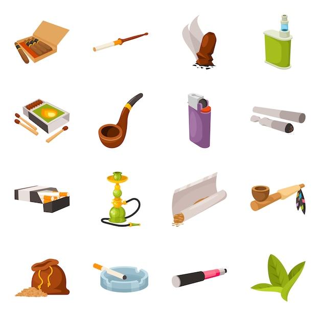 タバコと習慣のシンボルのベクトルイラスト。タバコと喫煙者セットのコレクション Premiumベクター