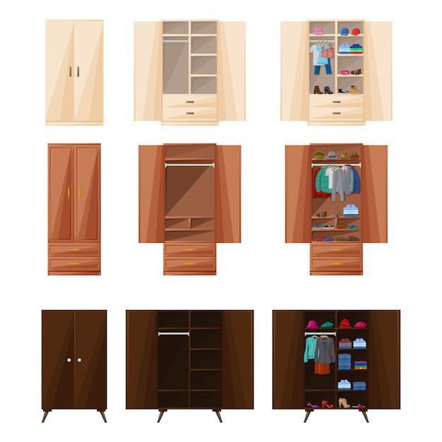 木製食器棚分離漫画アイコン。ワードローブのベクトルイラストルーム家具。ベクトル漫画は、アイコンルームの食器棚を設定します。 Premiumベクター