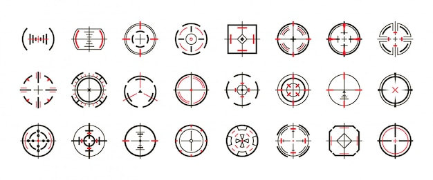 狙撃視力ベクトル黒は、アイコンを設定します。ベクトル図の視力とターゲット。孤立した黒いアイコン目ターゲット Premiumベクター