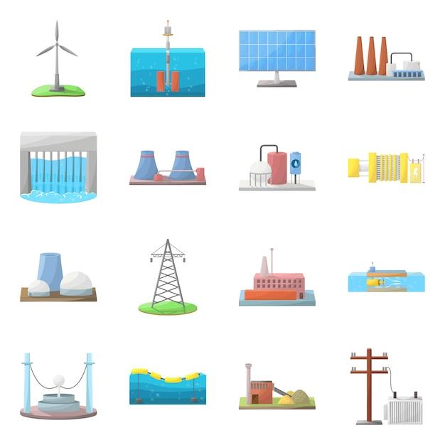 エネルギーと代替。エネルギーと開発のストックシンボルを設定します。 Premiumベクター