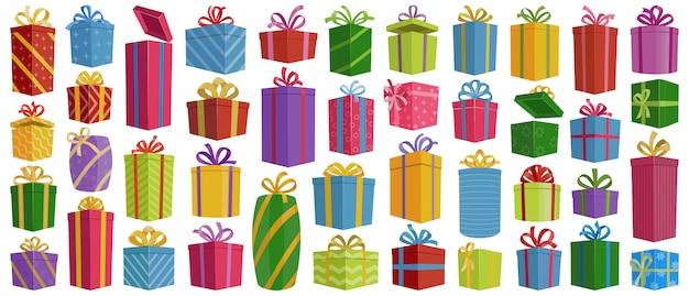 クリスマスギフトボックスベクトル漫画のアイコンを設定します。孤立した漫画アイコンクリスマスとホリデーボックス Premiumベクター