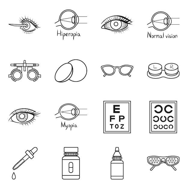 ビジョンアウトラインアイコンセットの修正。孤立した図眼科と視力の矯正。診断目のアイコンセット。 Premiumベクター
