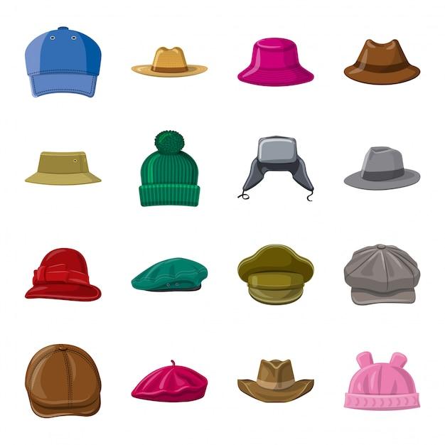Набор иконок мультфильм шляпа, шляпа моды. Premium векторы