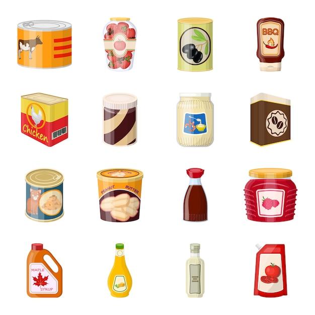 食品漫画アイコンセット、できます製品。 Premiumベクター