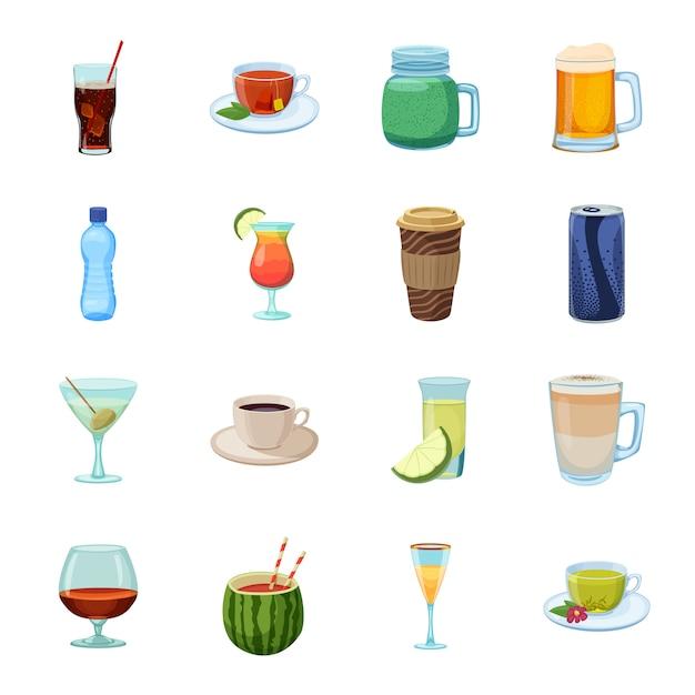 Пейте мультфильм значок набор, коктейль и алкоголь. Premium векторы