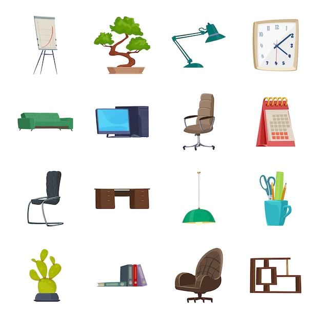Комплект значка шаржа интерьера офиса, современный интерьер офиса. Premium векторы