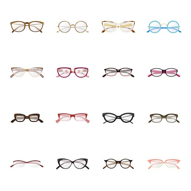 メガネ生産漫画アイコンセット、ファッションメガネ。 Premiumベクター