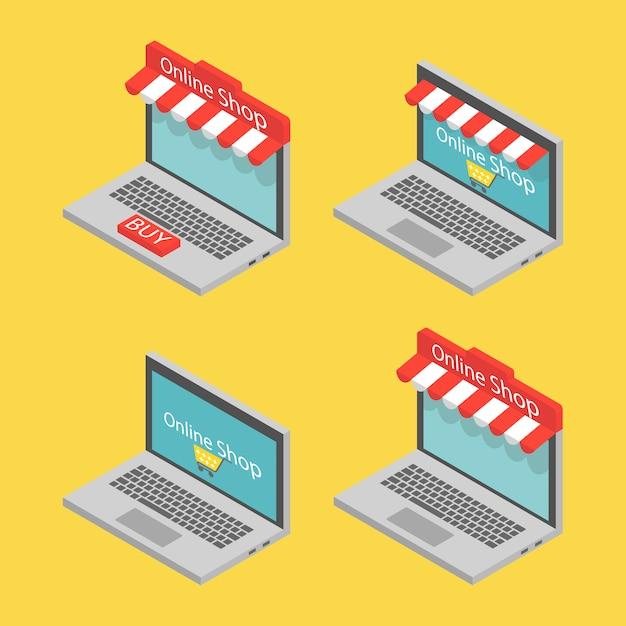 Изометрические ноутбук, концепция интернет-магазина. Premium векторы