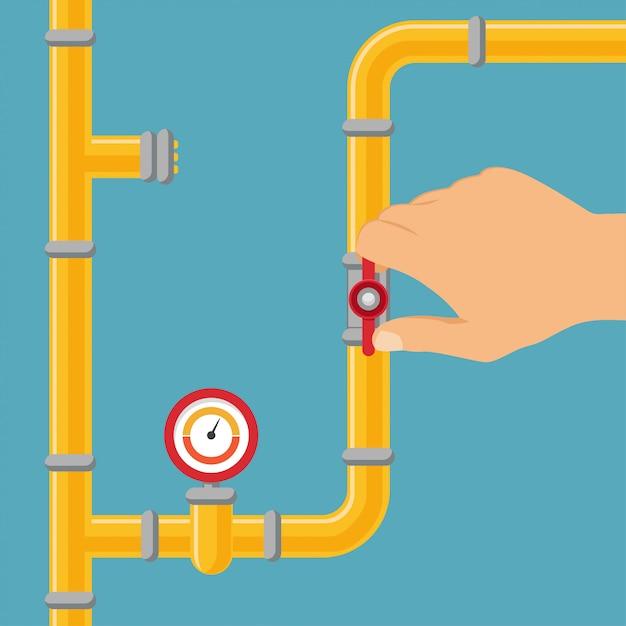 Открытие или закрытие водопровода, газопровода. Premium векторы