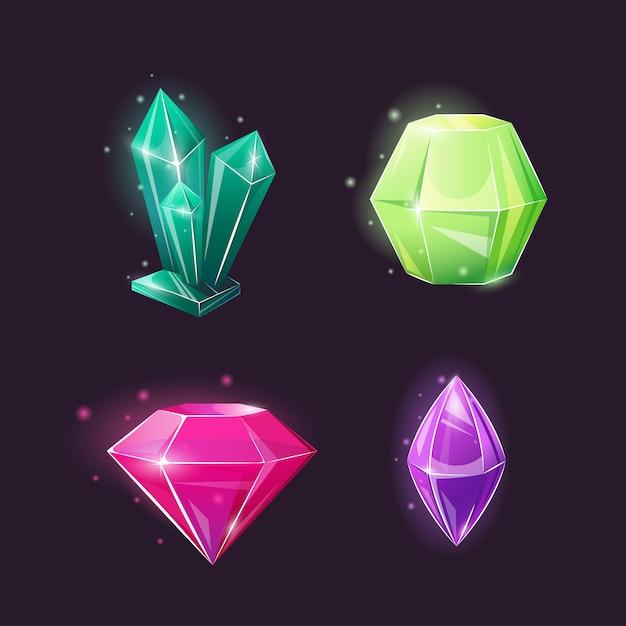 Коллекция кристаллов различной формы. Premium векторы