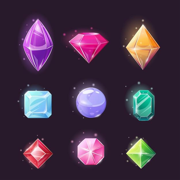 Набор драгоценных камней, коллекция магических кристаллов различной формы. Premium векторы