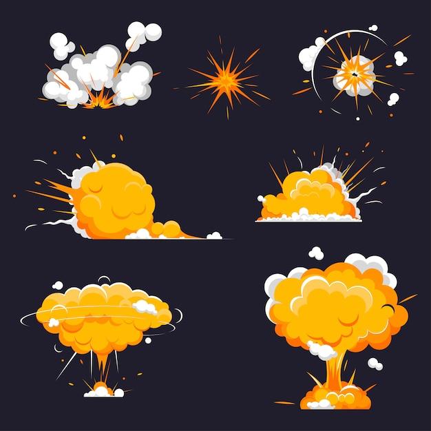 漫画爆発コレクション爆弾、ダイナマイト爆発、危険。 Premiumベクター