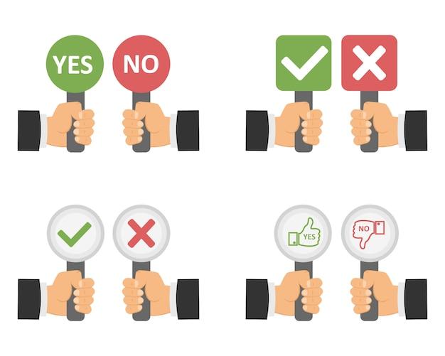 Войдите в руку, да или нет. Premium векторы
