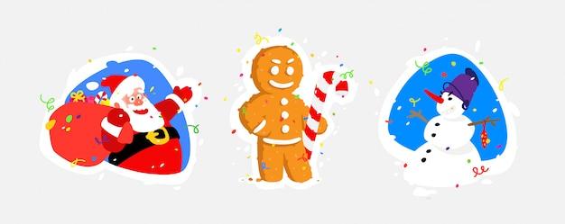 新年のキャラクターのイラスト。サンタクロース、雪だるま、ジンジャーブレッド。 Premiumベクター