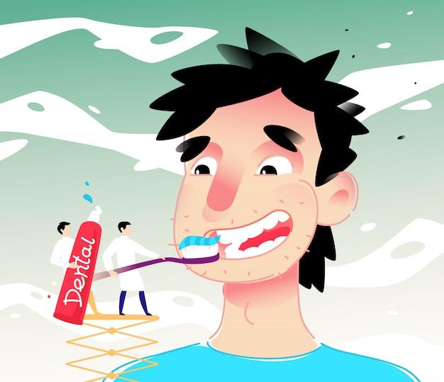 歯をクリーニング漫画男のイラスト Premiumベクター