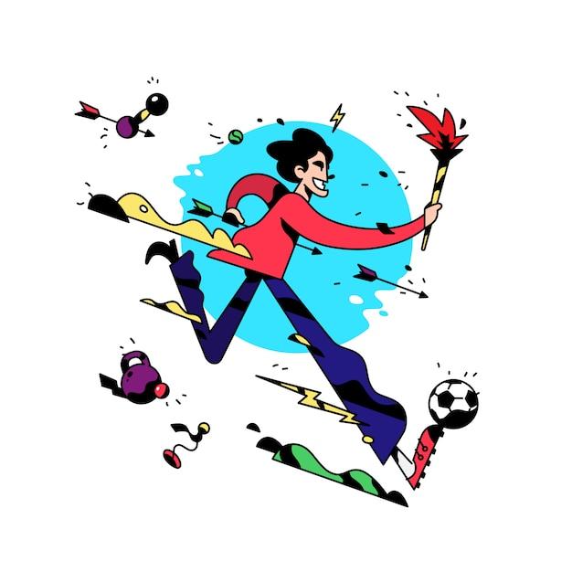 漫画のキャラクターがトーチで走っています Premiumベクター