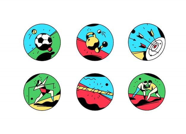 Набор иконок на тему спорта Premium векторы