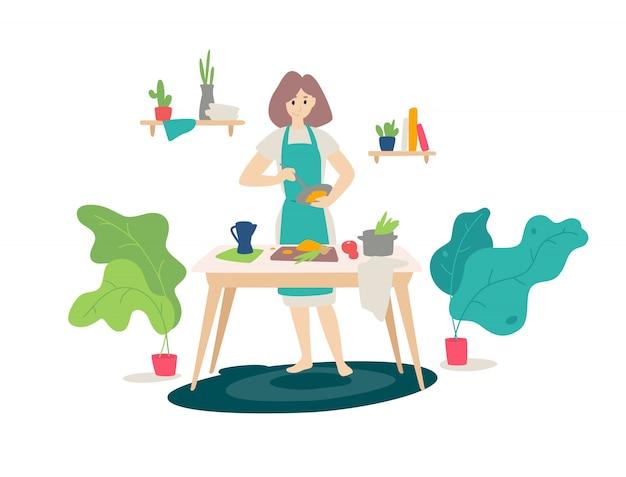 Иллюстрация девушки в фартук приготовления пищи на кухне Premium векторы