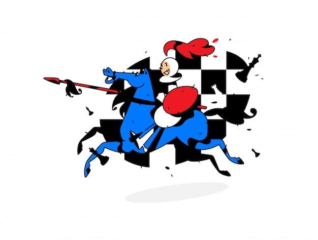 チェスのキャラクター、馬に乗ってポーンします。 Premiumベクター