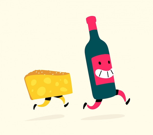 チーズとワインのボトルを実行しています。 Premiumベクター