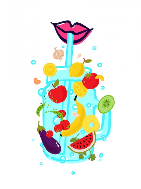 Овощи и фрукты в прозрачном стакане для смузи с соломкой. Premium векторы