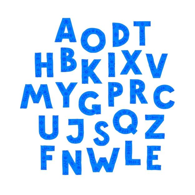 Синие буквы в случайном порядке. Premium векторы