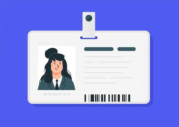 Пластиковые женские удостоверения личности. Premium векторы