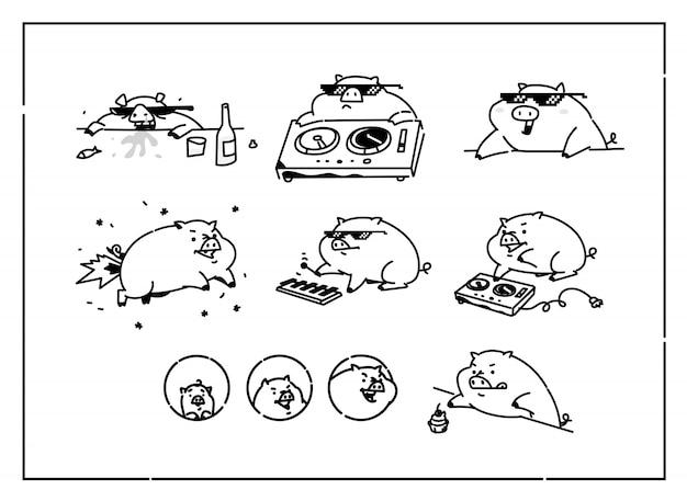 Иллюстрации мультяшных свиней. вектор. Premium векторы