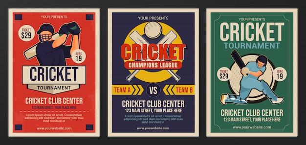 Набор шаблонов флаеров турнира по крикету Premium векторы