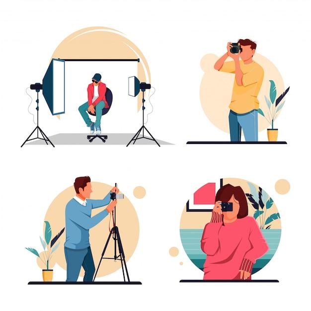 活動写真家、フラットなデザインコンセプトのキャラクターのイラストセット Premiumベクター