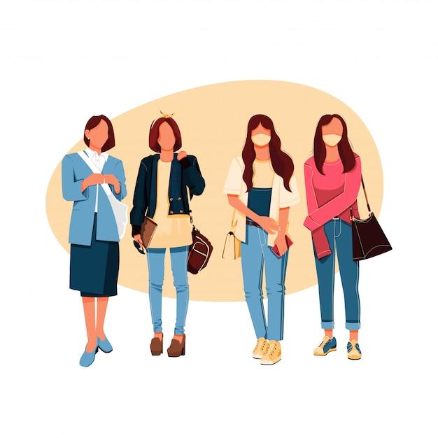 女の子グループのファッションのキャラクター、フラットなデザインコンセプトのイラストセット Premiumベクター