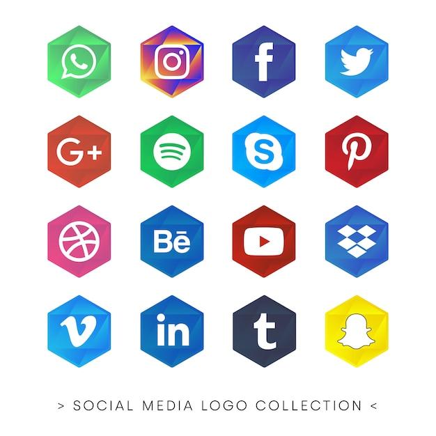 Цвета коллекции социальных медиа Бесплатные векторы