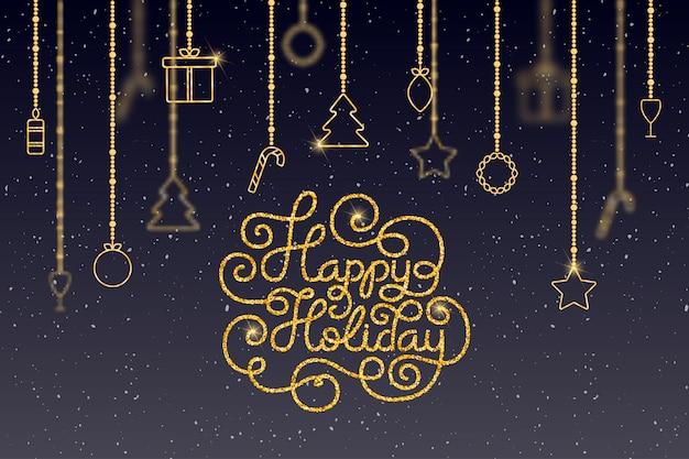 幸せな休日をレタリングの手でホリデーギフトカード Premiumベクター