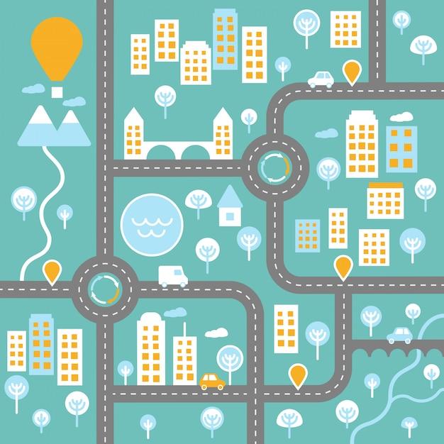 道路景観図インフォグラフィックテンプレートと都市ライブコンセプトプラン Premiumベクター