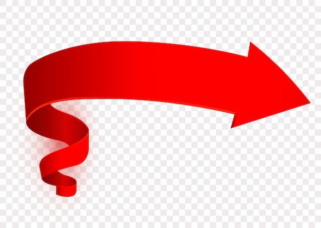 赤い矢印記号、右方向標識、道標。ポインター。ナビゲーション要素の設計、 Premiumベクター