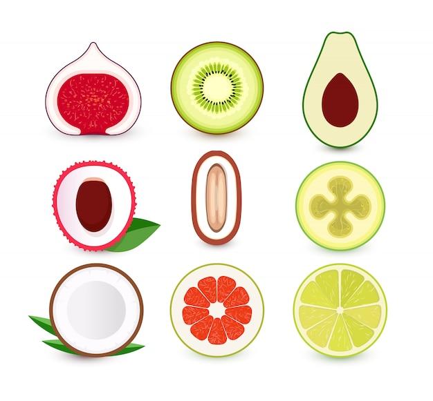 新鮮な果物のアイコンのセット。トロピカルフルーツのスライス、ロゴのコレクション。孤立したエンブレム。 Premiumベクター