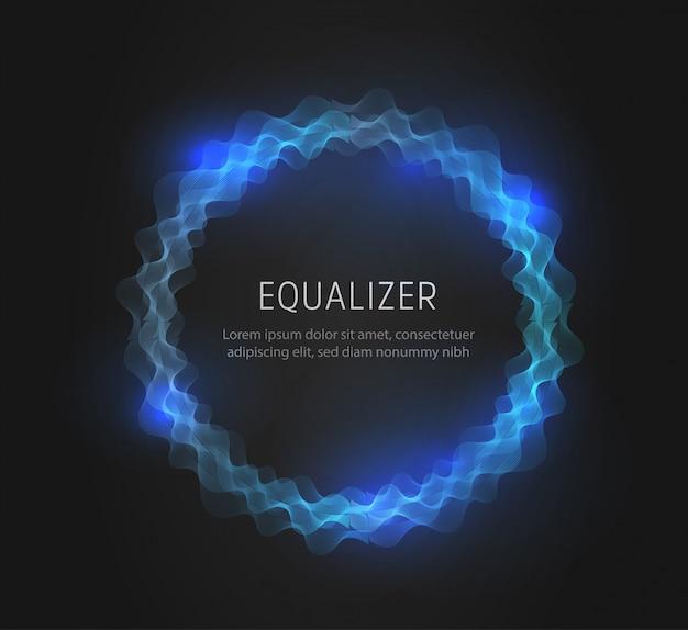 青い丸いイコライザーの形状、抽象的な音と電波。 Premiumベクター