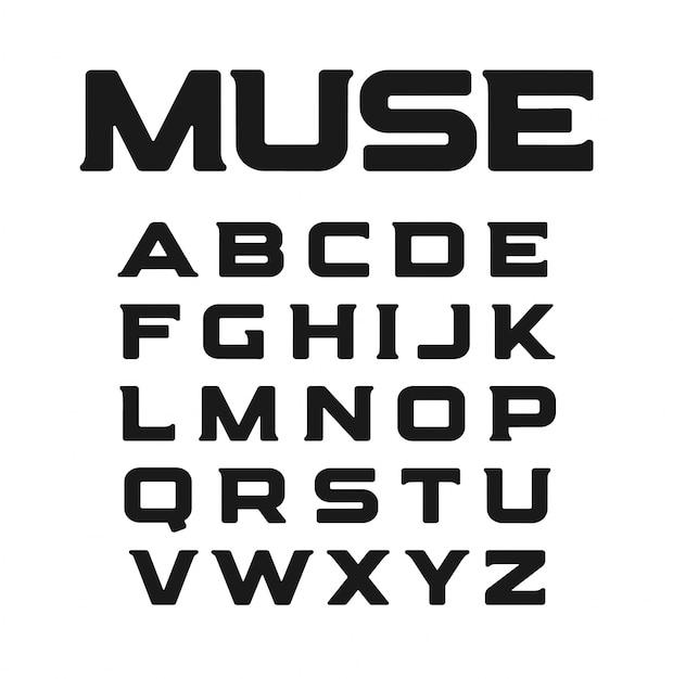 Современный шрифт с необычными засечками. Premium векторы