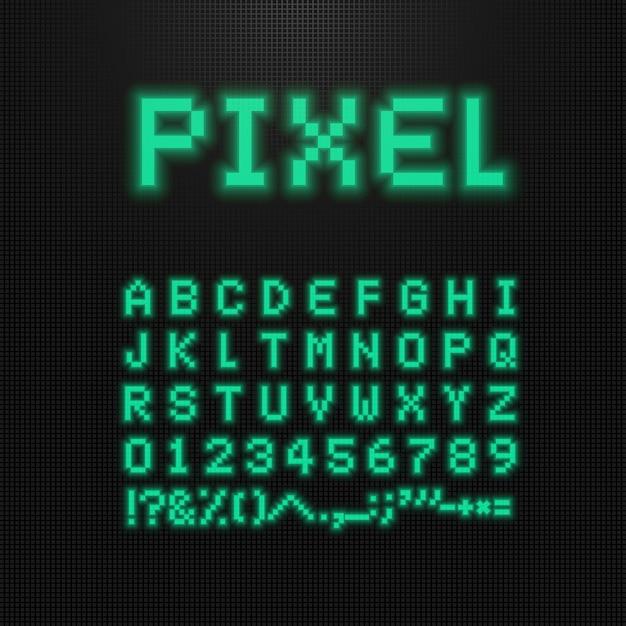 古いコンピューターのピクセルフォント、文字、数字、記号はディスプレイを導きました。 Premiumベクター