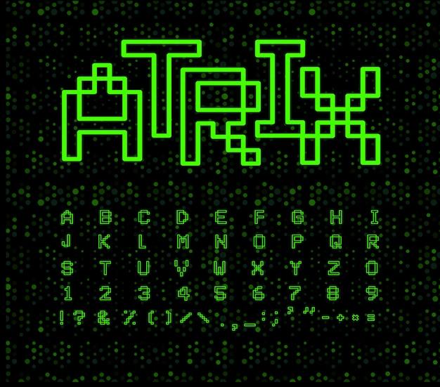 Матричный шрифт на черном киберпространстве Premium векторы