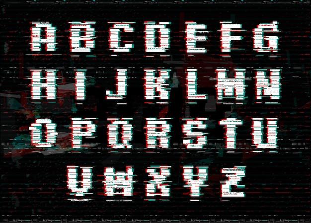 Алфавит с эффектом глюк и шум. Premium векторы